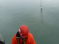 ARCH technician compiles data for met mast inspection report at 60M above the Irish Sea.